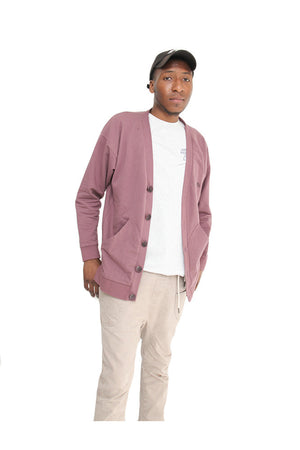 Like Mind New York Pacific Cardigan Mauve On Model