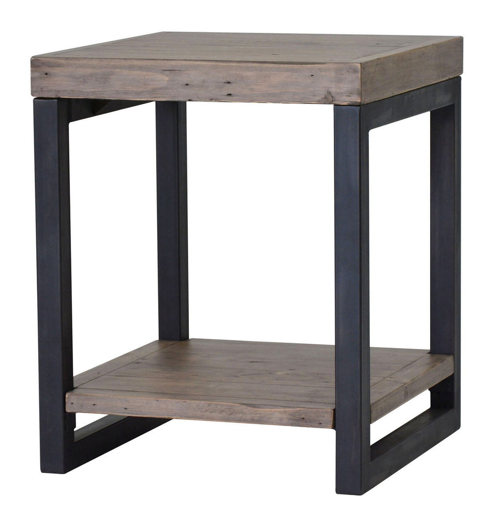 WOODEN FORGE END TABLE - SUNDRIED
