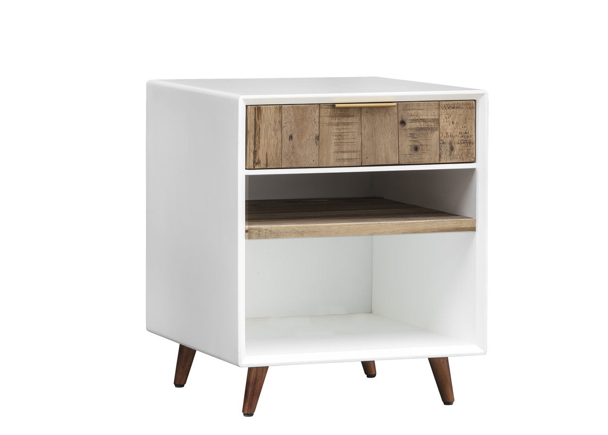 CASABLANCA NIGHTSTAND - RUSTIC NATURAL / WHITE LACQUER