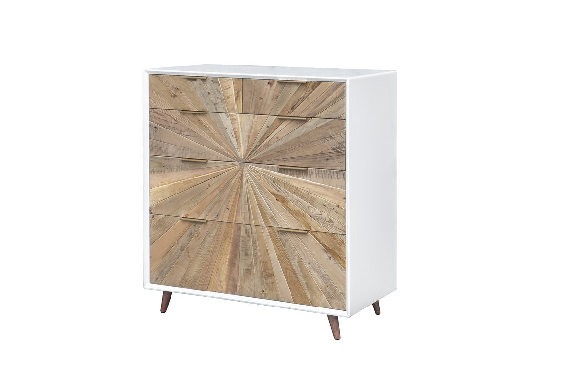 CASABLANCA 5 DRAWER CHEST - RUSTIC NATURAL / WHITE LACQUER