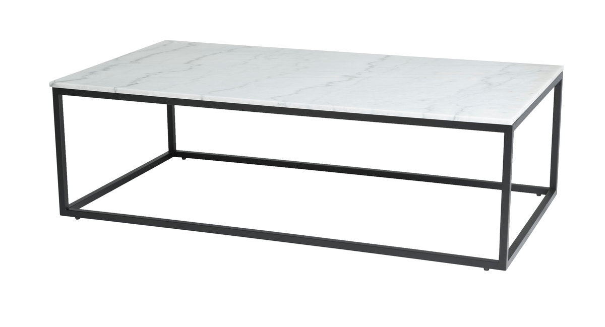 VERONA COFFEE TABLE - WHITE MARBLE + BLACK MATTE