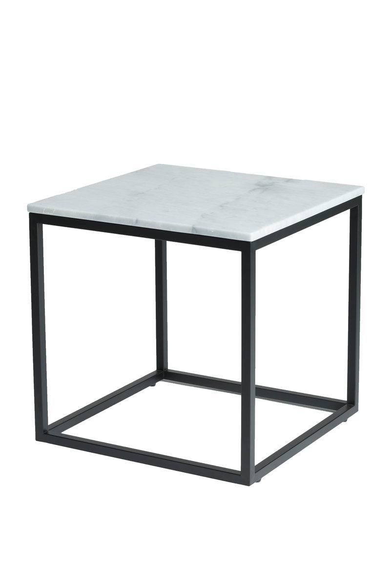 VERONA END TABLE - WHITE MARBLE + BLACK MATTE