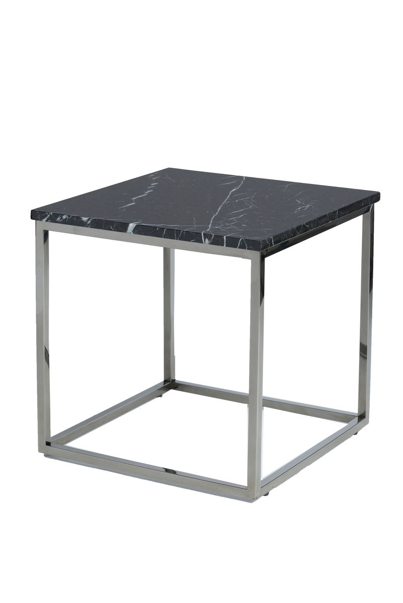 VERONA END TABLE - BLACK MARBLE + POLISHED STAINLESS
