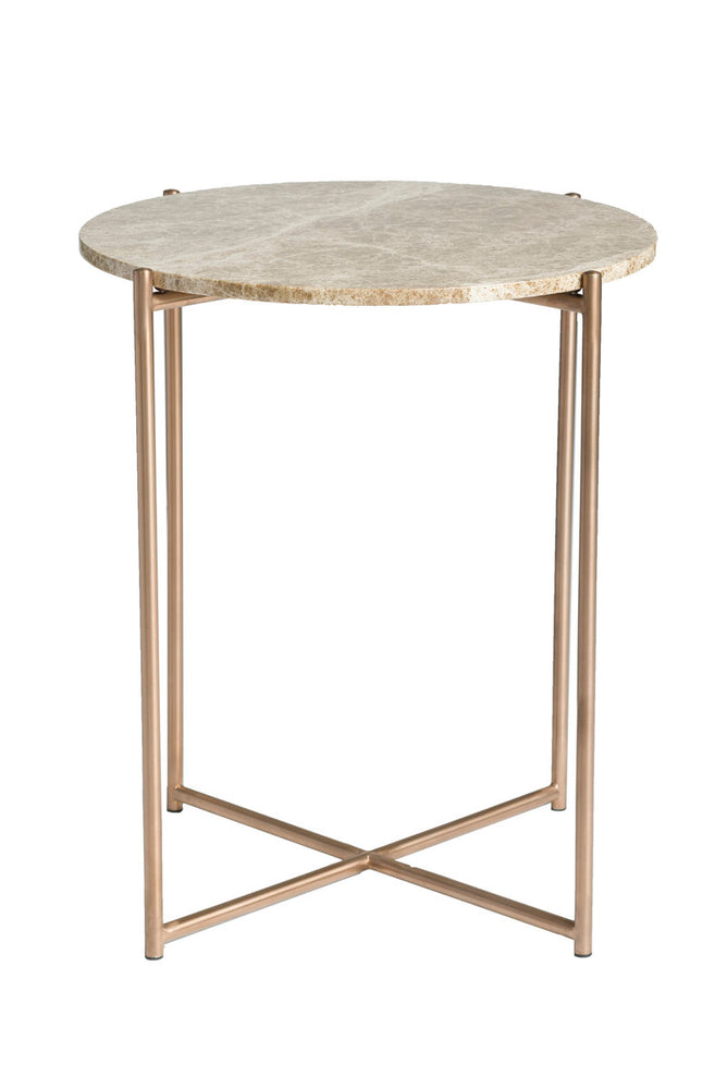 VENICE SMALL ROUND COFFEE TABLE - BROWN MARBLE + BRUSHED BRASS