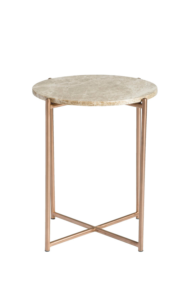 VENICE ROUND END TABLE - BROWN MARBLE + BRUSHED BRASS