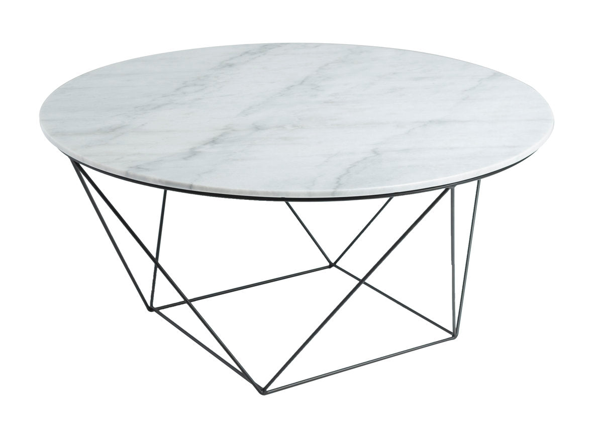 VALENCIA ROUND COFFEE TABLE - WHITE MARBLE + BLACK MATTE