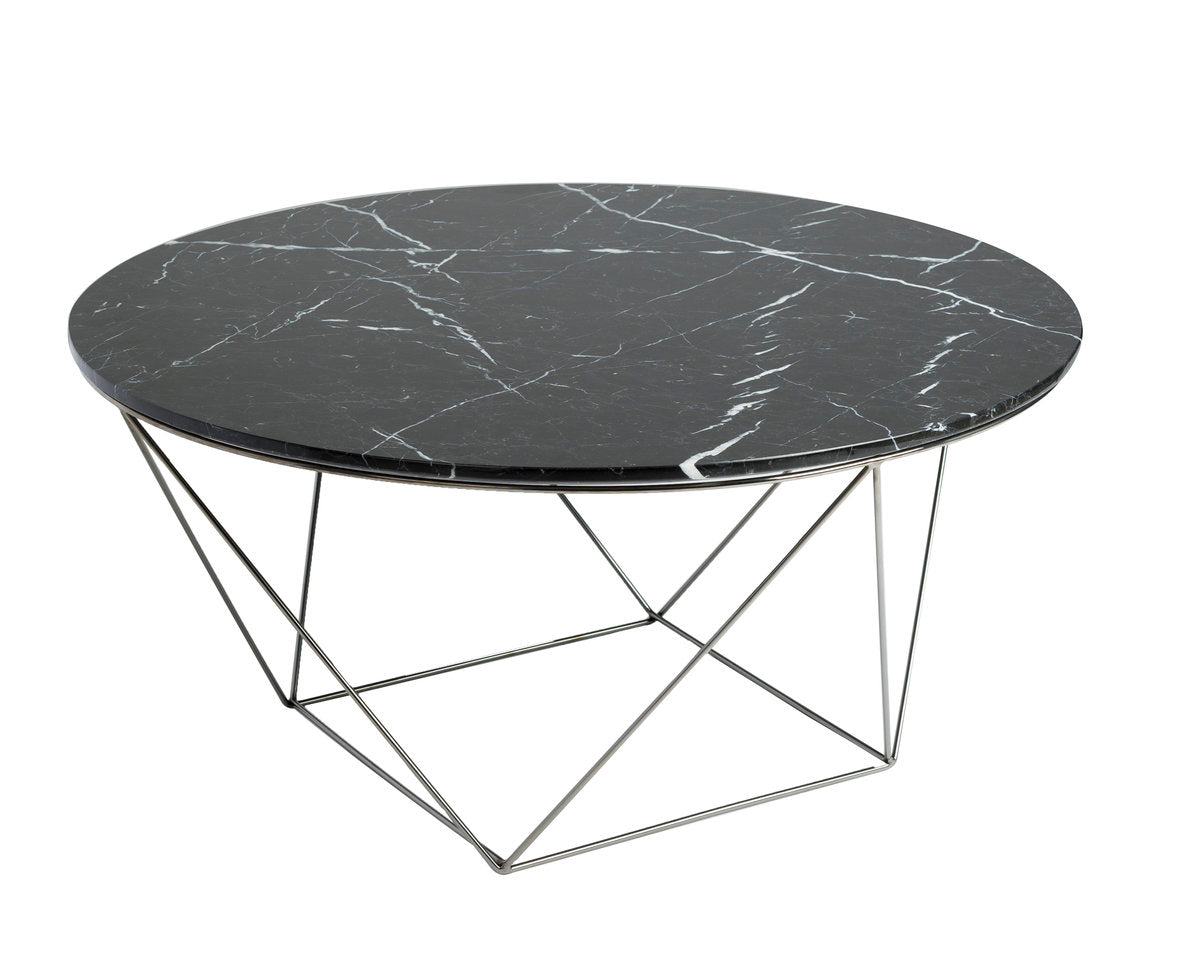 VALENCIA ROUND COFFEE TABLE - BLACK MARBLE + POLISHED STAINLESS
