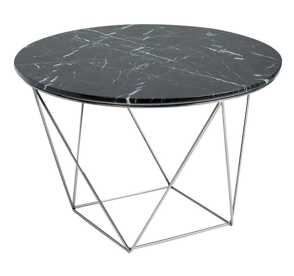VALENCIA ROUND END TABLE - BLACK MARBLE + POLISHED STAINLESS