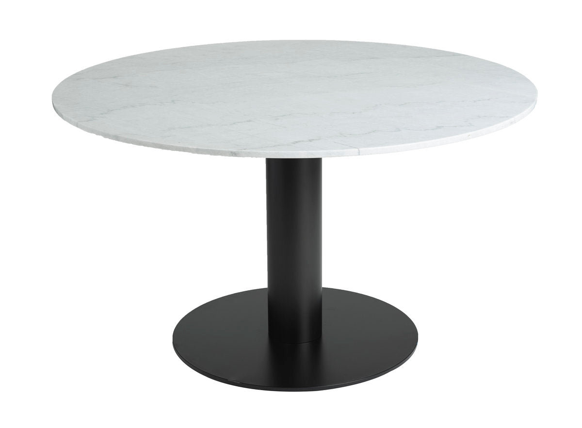 VALENCIA ROUND DINING TABLE - WHITE MARBLE + BLACK MATTE