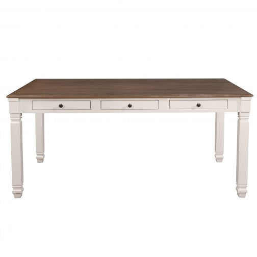 Highlands Dining Table in Antique White and Oak