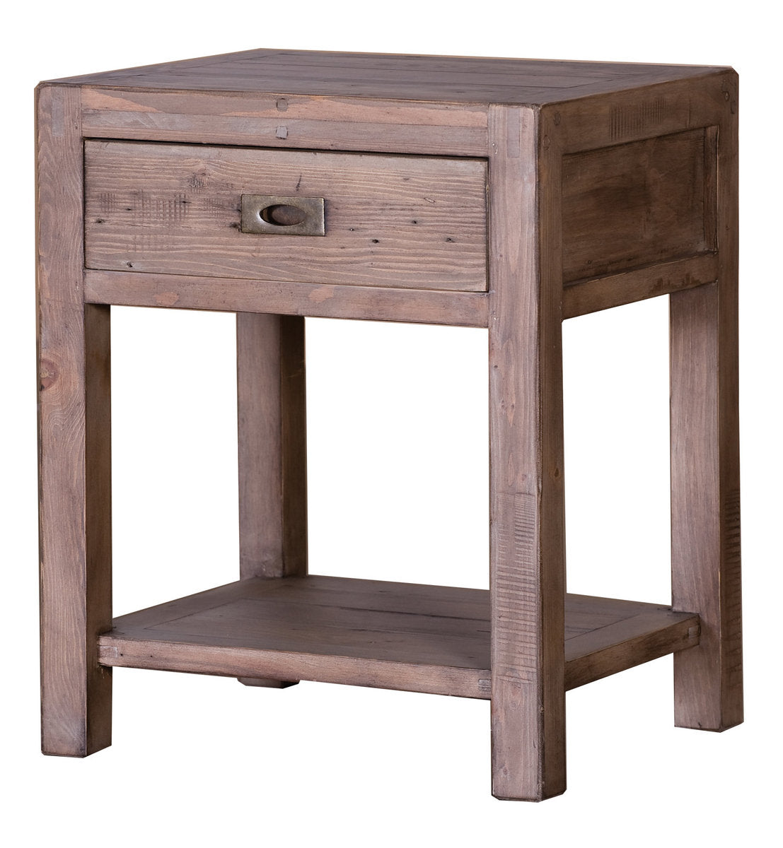 POST & RAIL REGULAR END TABLE - SUNDRIED