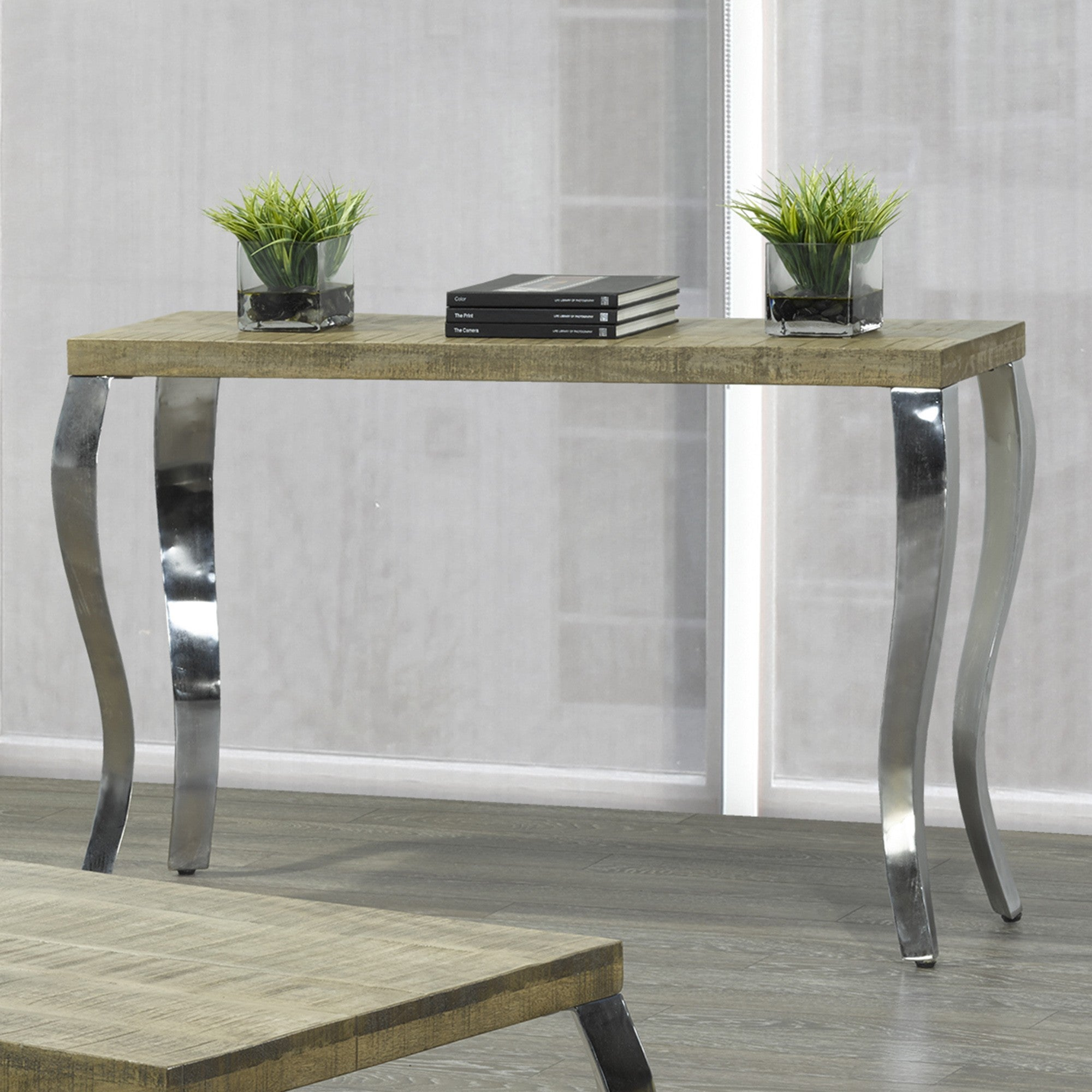 Natalia Console Table in Reclaimed and Chrome