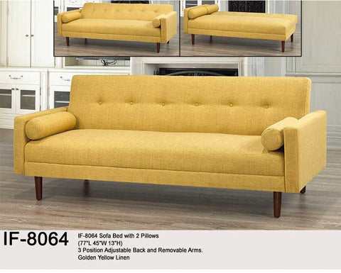 Fold down futon in yellow