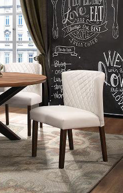 Contemporary Dinette Collection White PVC Side Chair