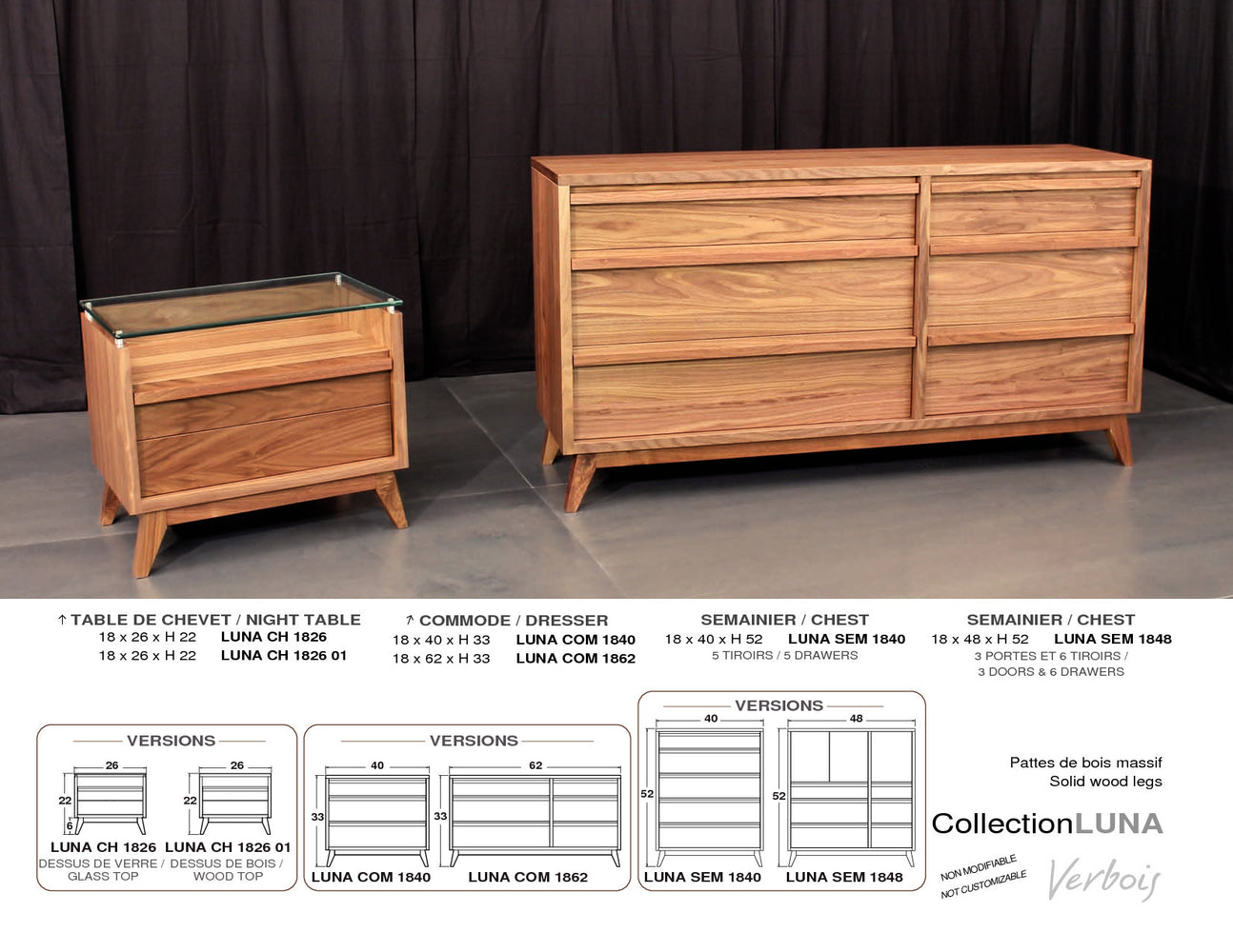 Luna solid wood collection
