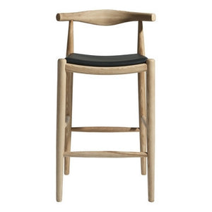 Wag stool , natural wood with black seat