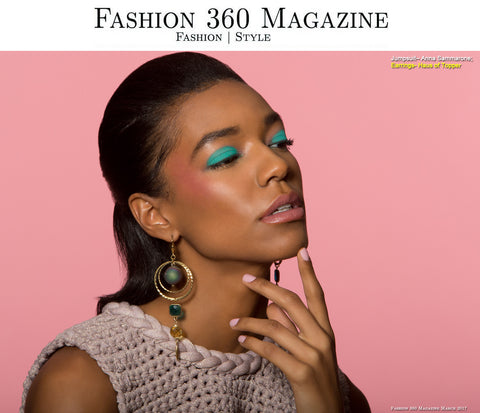 Druzy rainbow agate orbiting earring in Fashion 360 Magazine