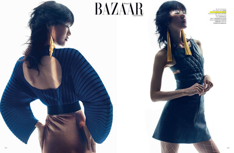 Yellow Tassel Earrings by Haus of Topper in Harper's Bazaar