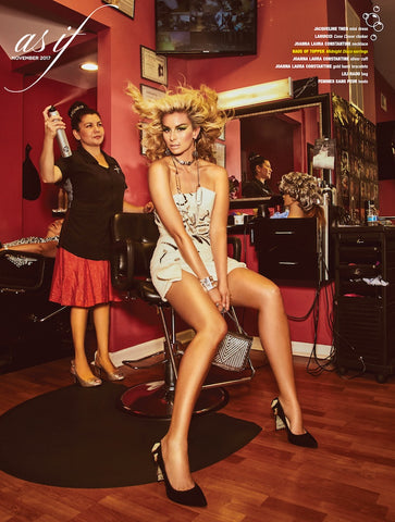 Niki Taylor in As If Magazine wearing gun metal crystal encrusted disco ball drop earrings
