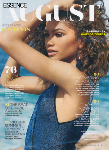 Essence Magazine cover star Zendaya wearing Haus of Topper Ombre navy Tassel earrings
