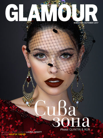 Haus of Topper Red crystal, gold and pearl earrings in Glamour Bulgaria