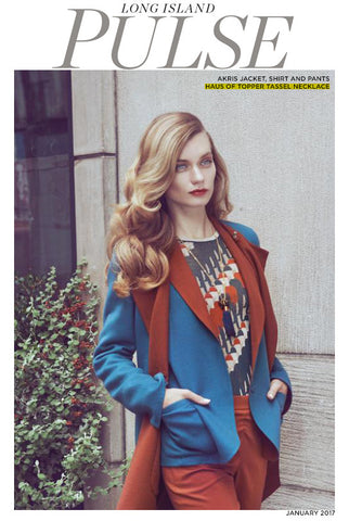Haus of Topper navy tassel necklace in Long Island Pulse Magazine