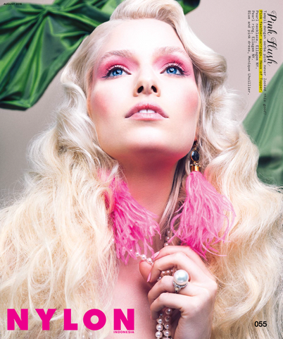 Nylon Indonesia pink feather earring fashion editorial
