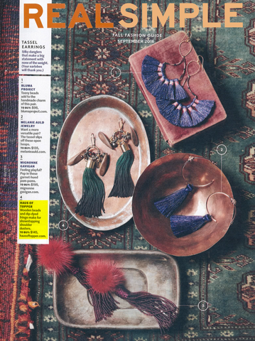 Ombre tassel earrings featured in Real Simple Magazine