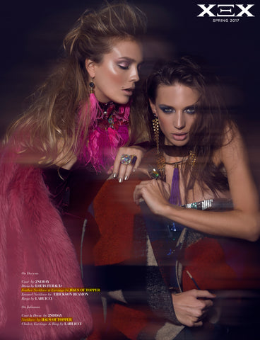 Pink Feather necklace and earrings by Haus of Topper in XEX Magazine