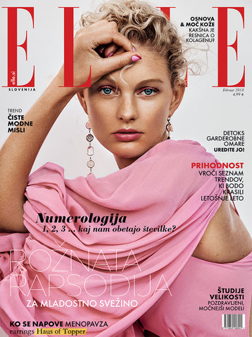 Haus of Topper pastel pink ombre crystal earrings on the cover of Elle Slovenia January issue
