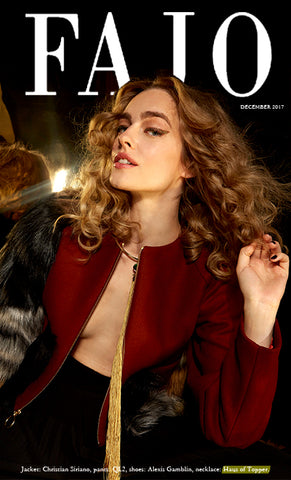 Haus of Topper long tassel collar in mustard with emerald crystal in FAJO magazine