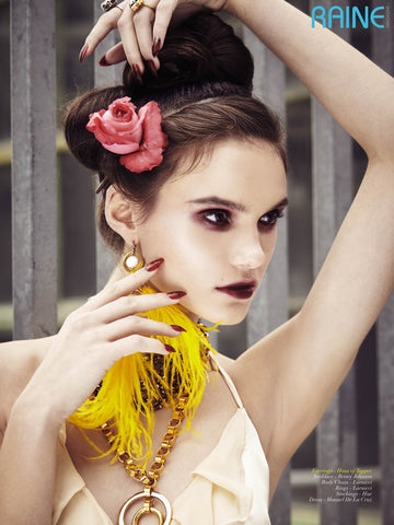 Yellow Feather Tassel earrings in Raine Magazine
