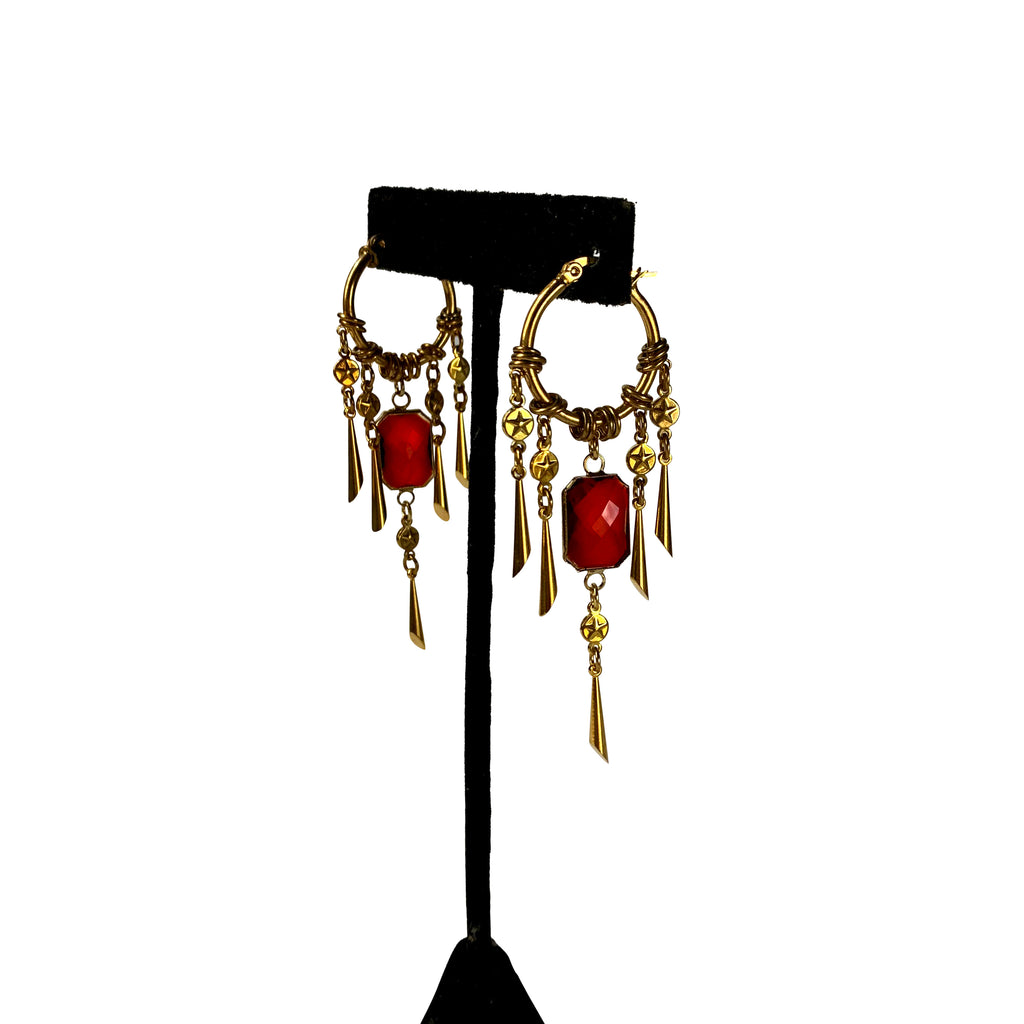 Red Crystal Shaker Hoops
