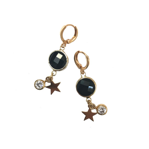 black crystal earrings with star and crystal charms