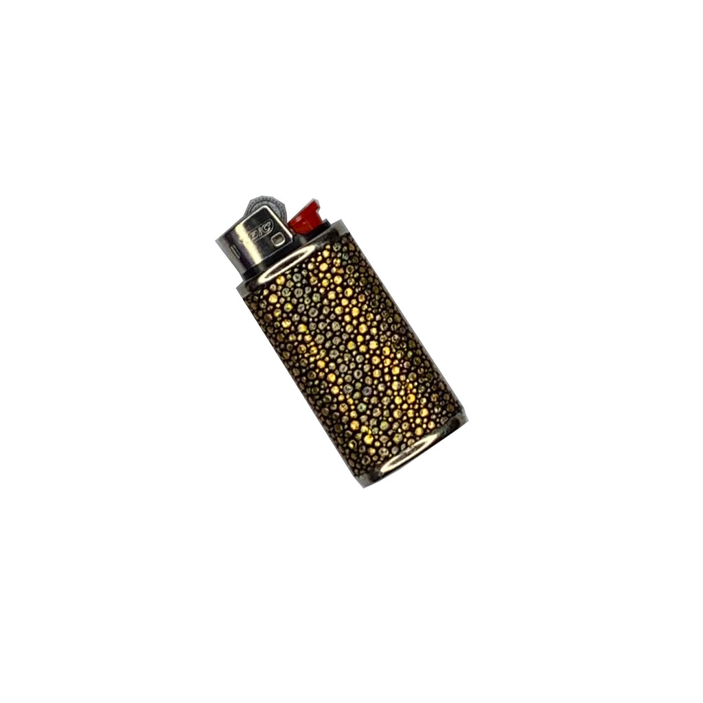 Mini Bic Lighter Cover in Holographic Gold Stingray