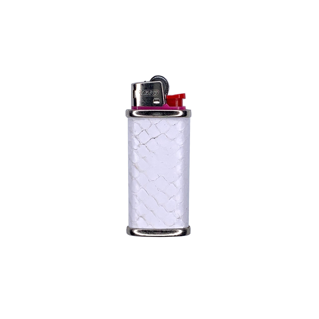 White snake skin and stainless steel mini bic lighter cover
