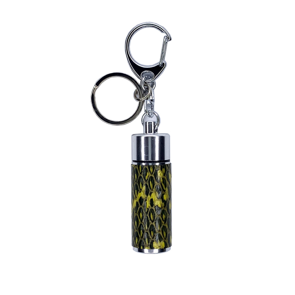 Silver Key chain pillbox wrapped in yellow lizard skin