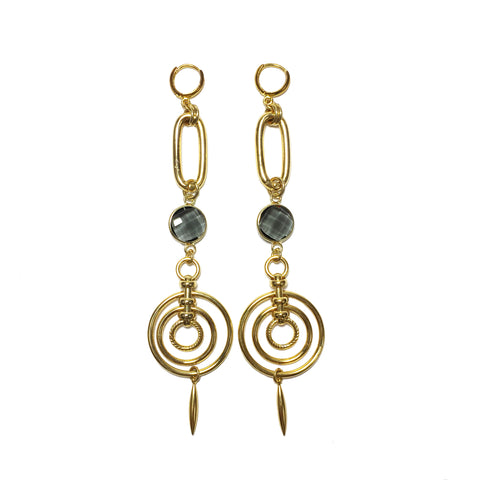 Gold and grey crystal sculptural chandelier earrings