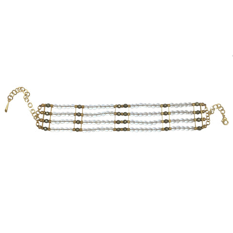 Clear rock crystal and pyrite 5 strand tribal choker by Haus of Topper