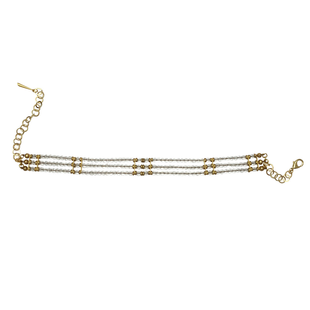 Faceted rock crystal 3 strand tribal choker with pyrite accents