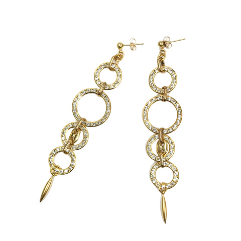 light weight women's gold and crystal drop earrings with Italian chain detail