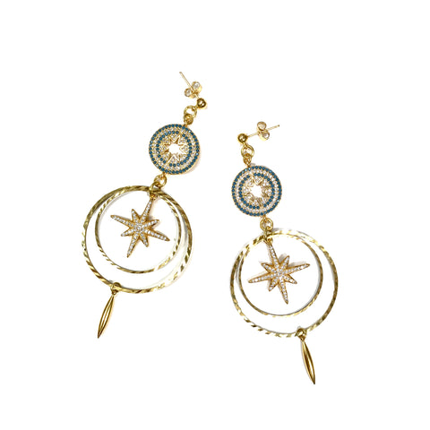 light weight crystal encrusted chandelier earrings with star motif