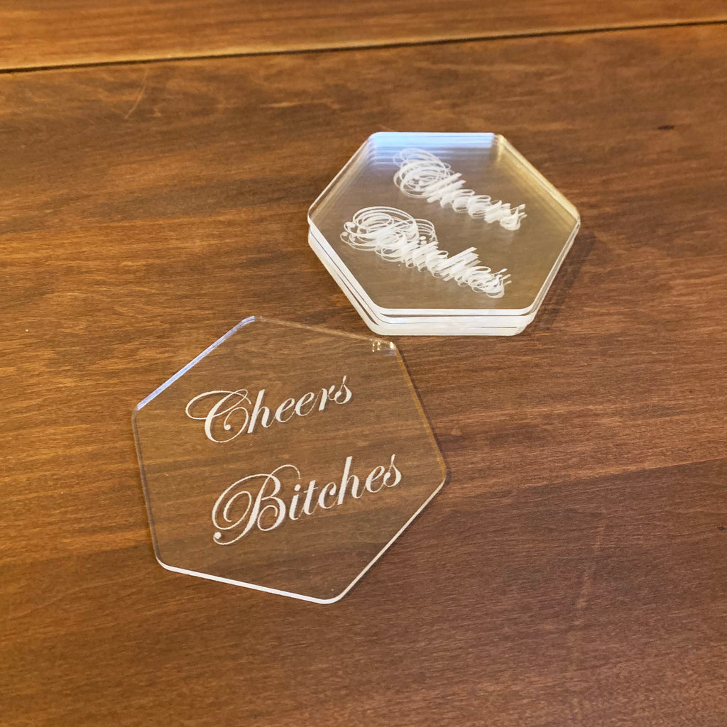 Cheers Bitches Clear Coaster Set