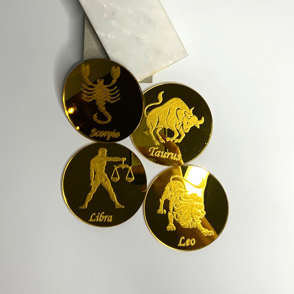 Mirrored Gold Zodiac Coasters