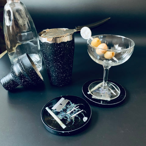 Silver Studio 54 Nose Candy Coaster Set