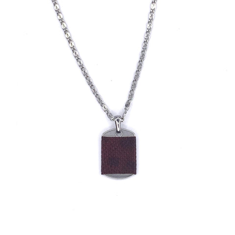 Medium Dog Tag Necklace in Ox blood Karung