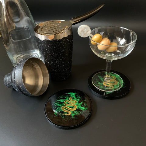 Golden Serpent in Green Shimmer Dust Coasters