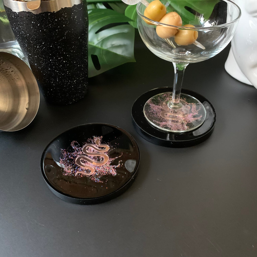 Pink Serpent in Pink Shimmer Dust Coasters