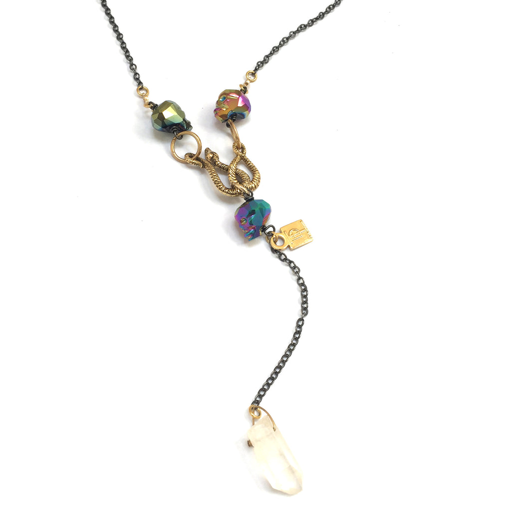 Rainbow Crystal Skulls Marcus Necklace - Haus of Topper