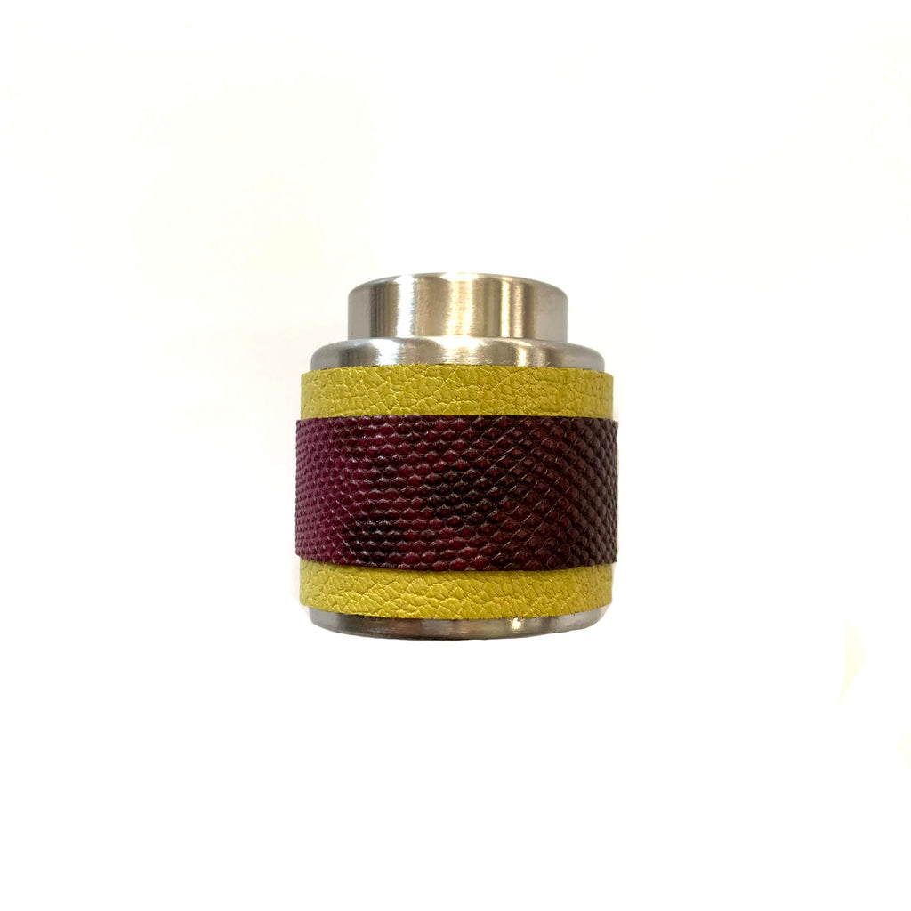 Yellow & Burgundy Striped Wine Bottle Stopper
